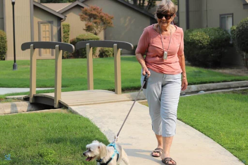 Our editor's grandma taking a walk in her senior townhome community