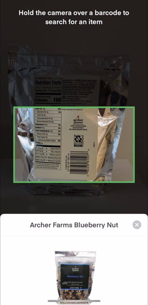 Scanning a barcode in the Instacart app