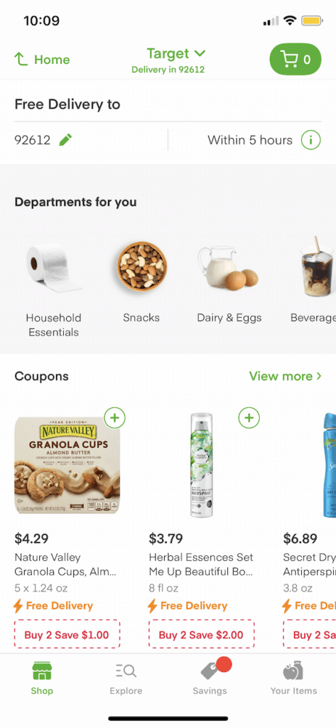 Searching through Target coupons and groceries on Instacart