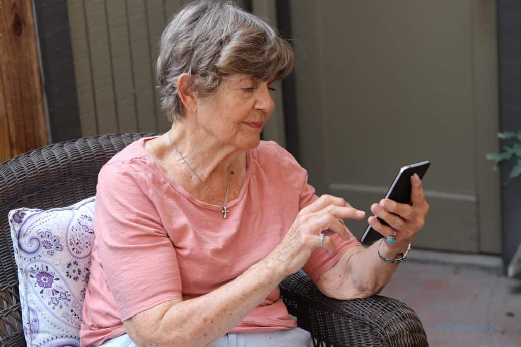 Our editor's grandma using the senior-friendly Lively Smart