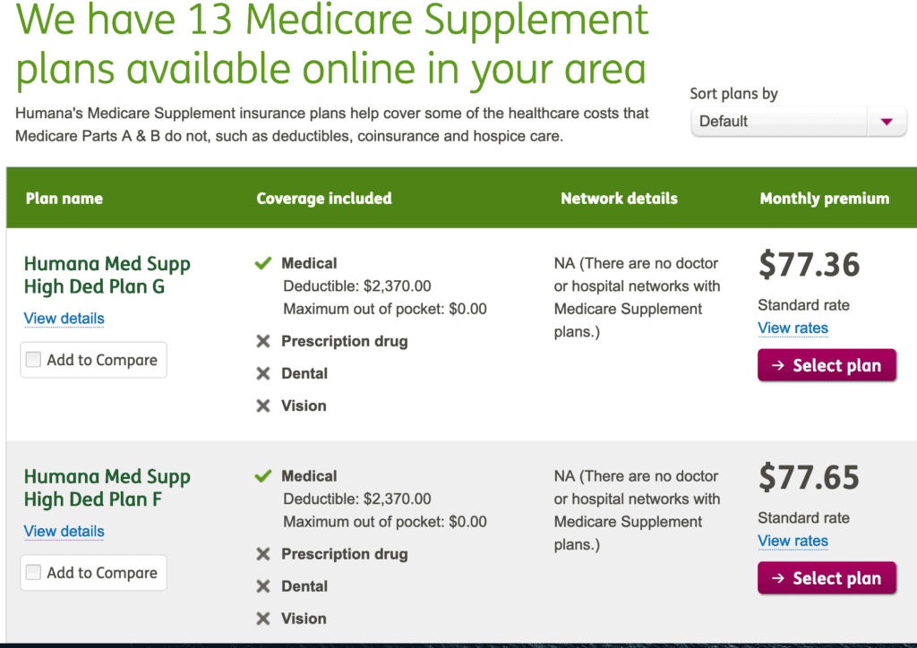 Humana - Compare plan prices