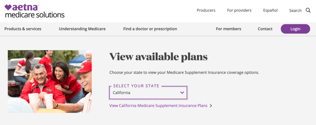 Searching by state on Aetna's home page