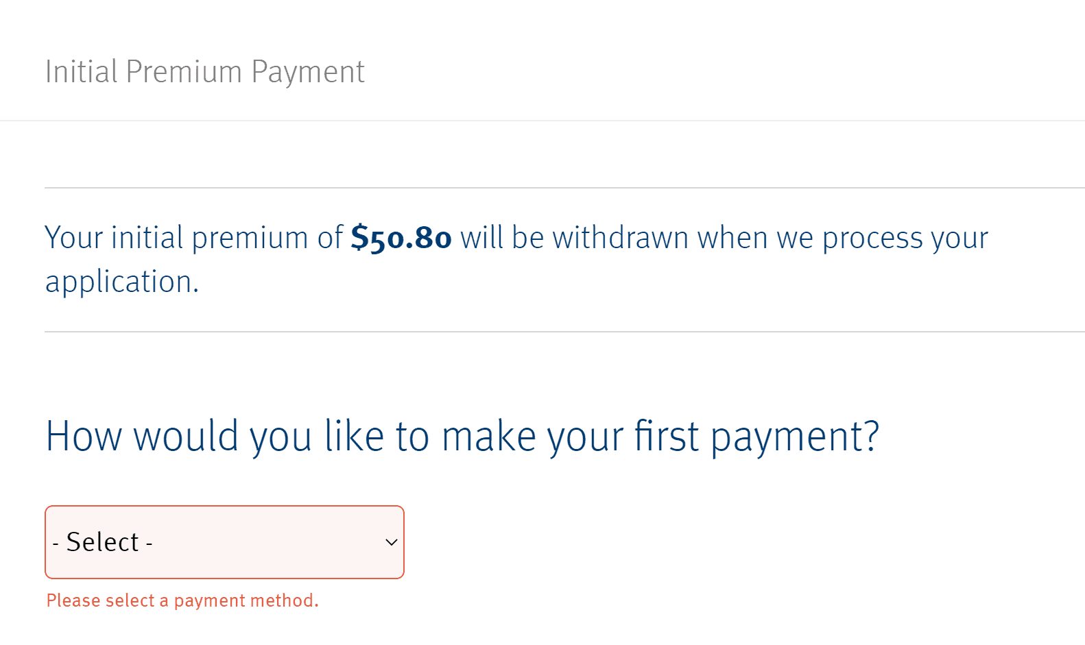 Enter a payment method for Mutual of Omaha Medigap plans