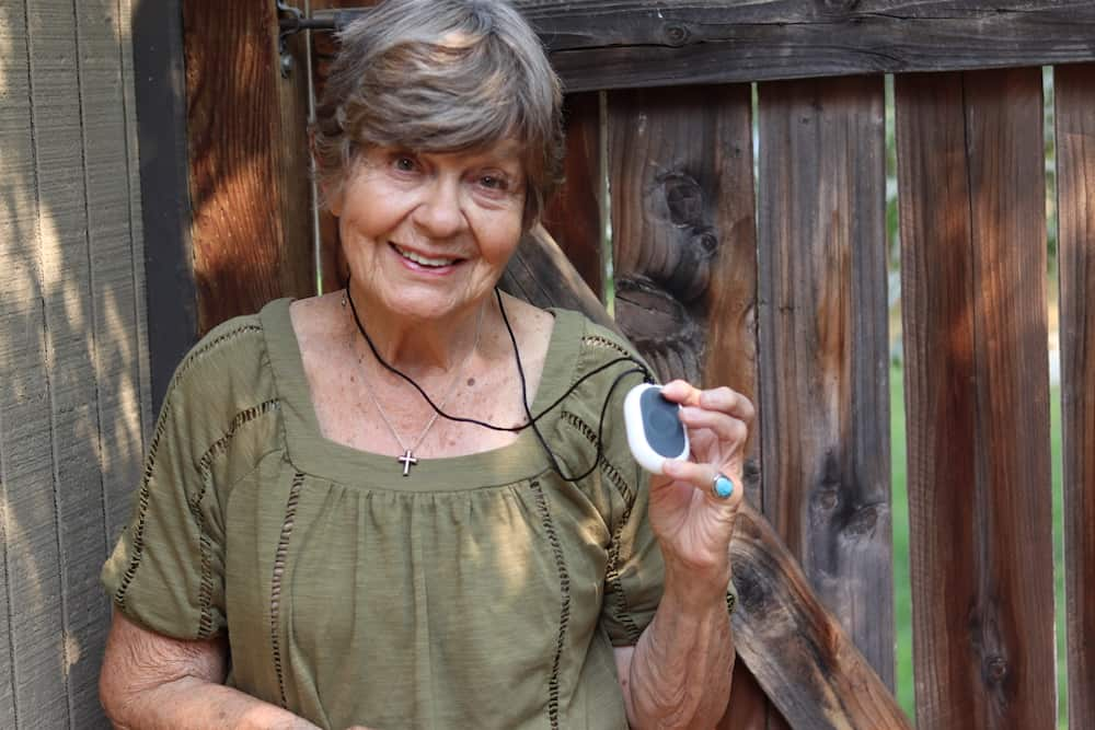 Our editor Taylor Shuman's grandma testing out Bay Alarm Medical's Mobile Help Button