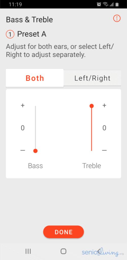 Eargo App Bass and Treble