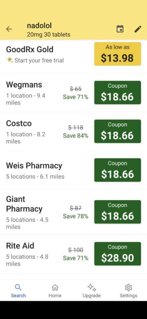 Searching for medications on the GoodRx app
