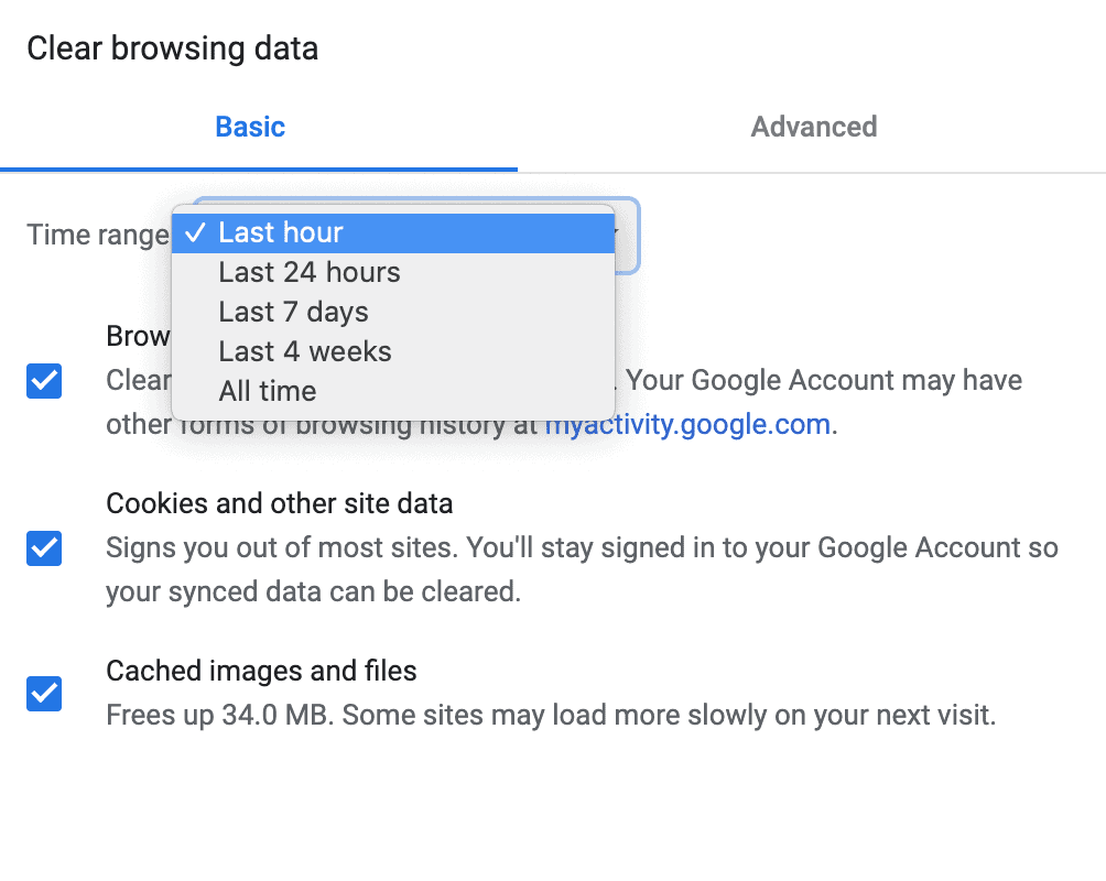 Clearing your data history