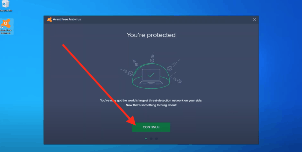 """Click """"Continue with Protection"""""""