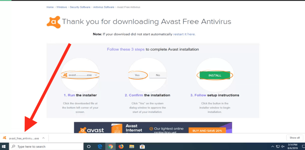 """Click """"Install"""" to download Avast"""