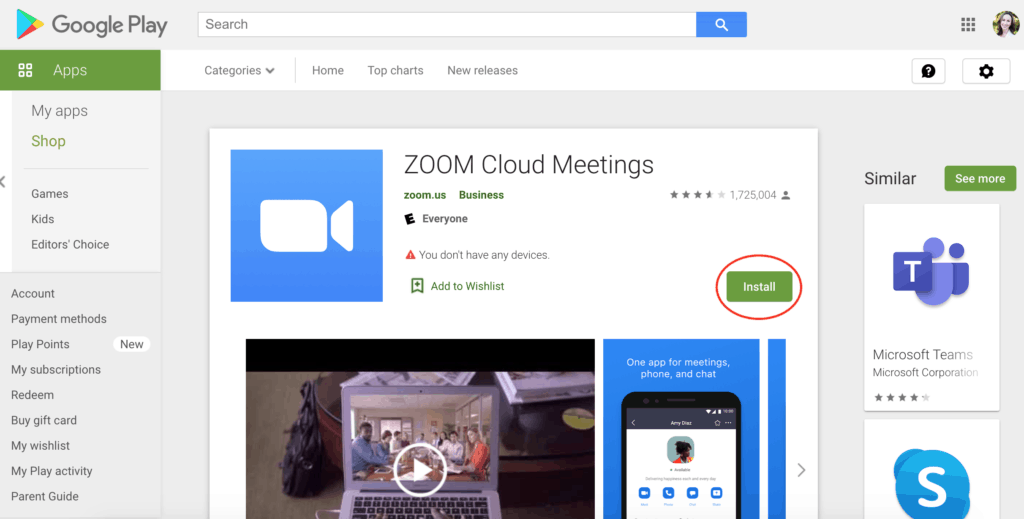 Installing the Zoom app from Google Play for Android phones