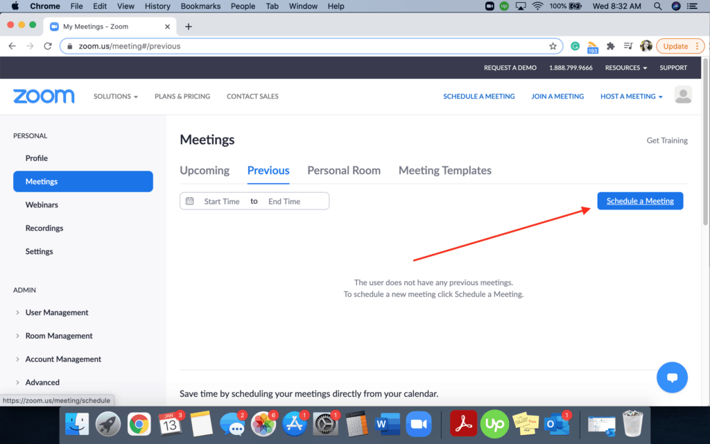 Zoom - Schedule a meeting