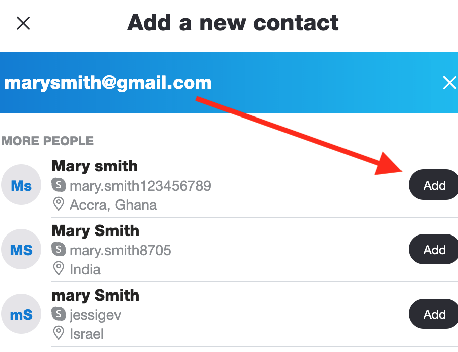 Adding new contacts on Skype