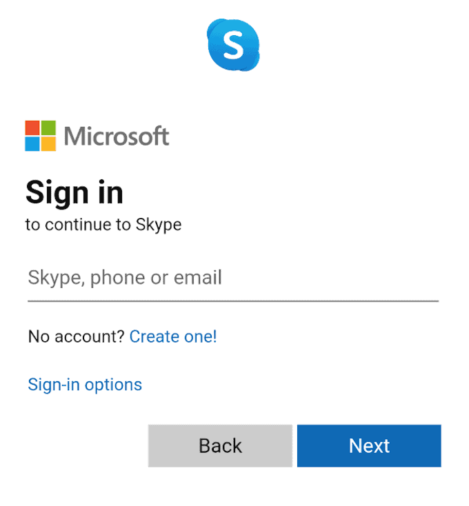 Android Skype sign in