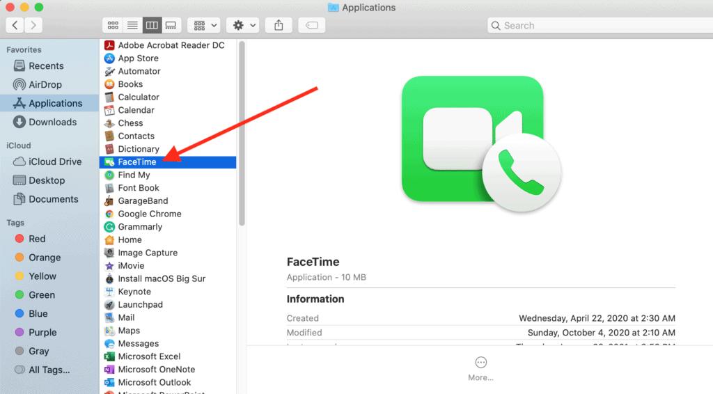 FaceTime - Click on FaceTime App