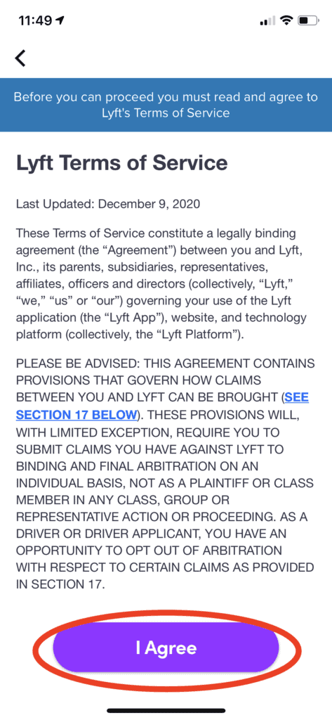 Lyft - Agree to terms of service