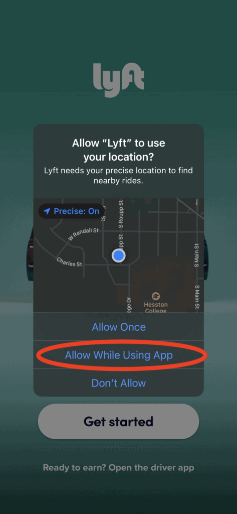 Lyft - Allow Lyft to use your location