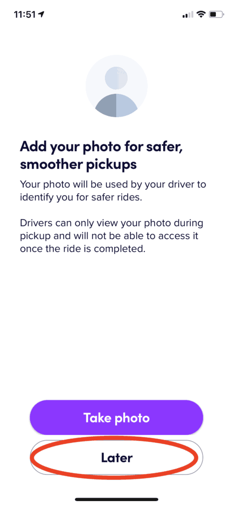 Lyft - Upload a photo