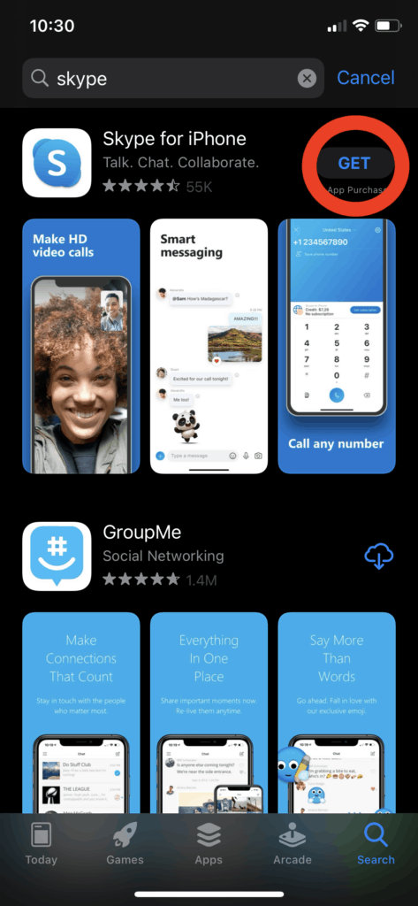 Search Skype on the Apple Store