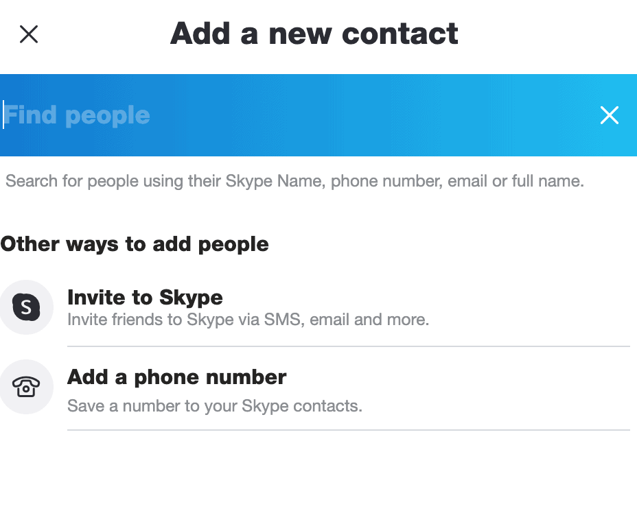 Search for new Skype contacts