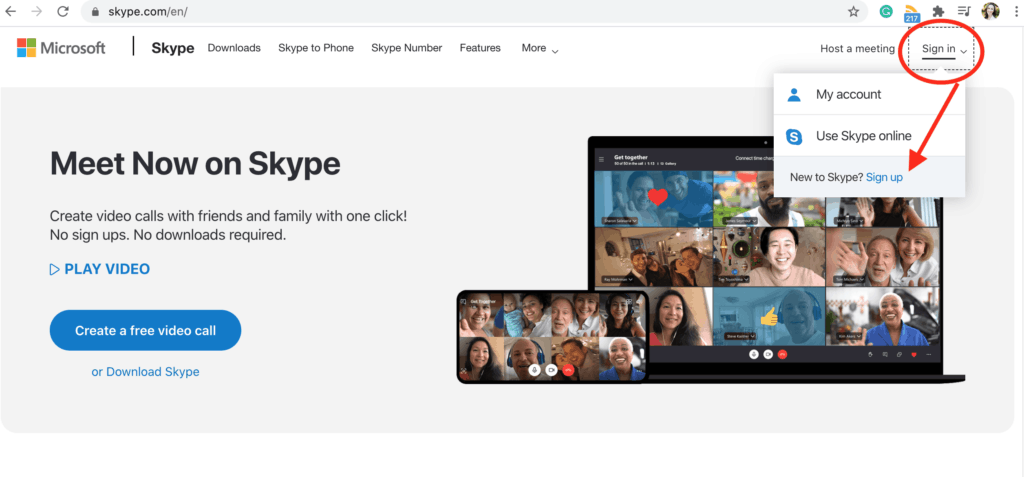 Sign in or sign up for Skype from the homepage