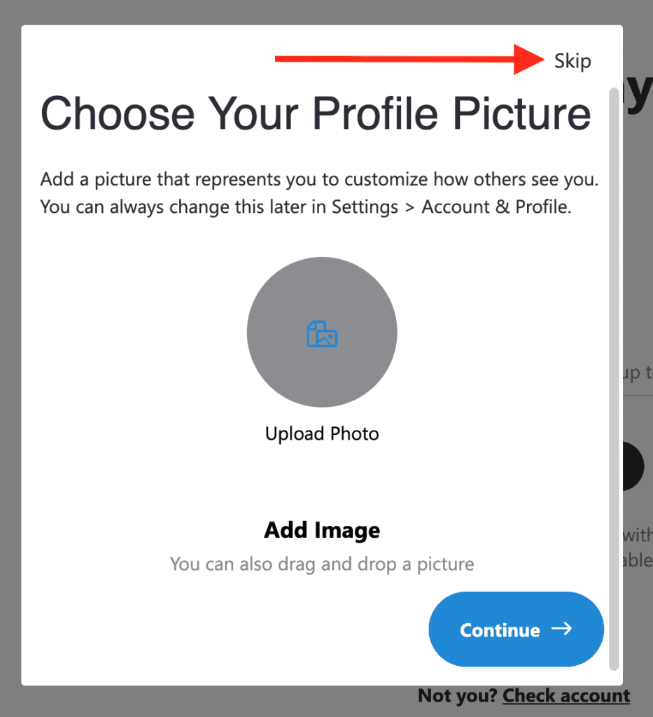 Skype - Choose your profile picture or skip it