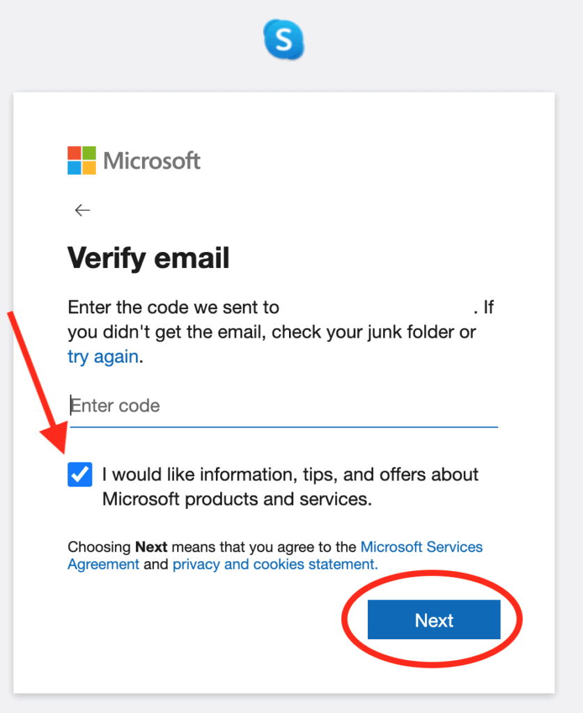 Skype - Verify your email address with a code