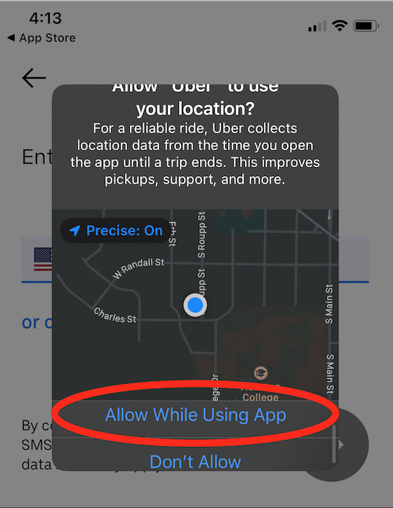 Uber - Allow Uber to use your location