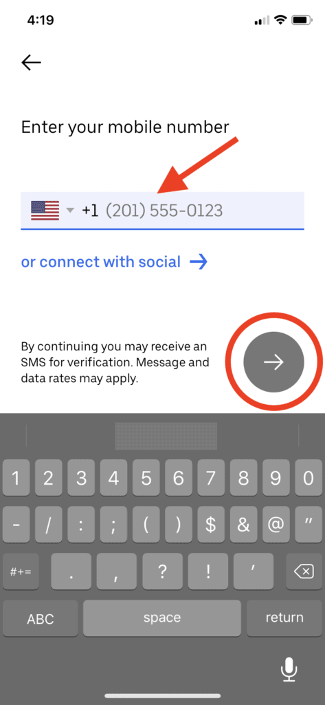 Uber - Input your phone number
