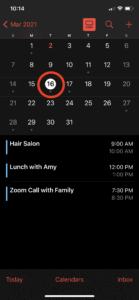 Tap on a day to see a list of events