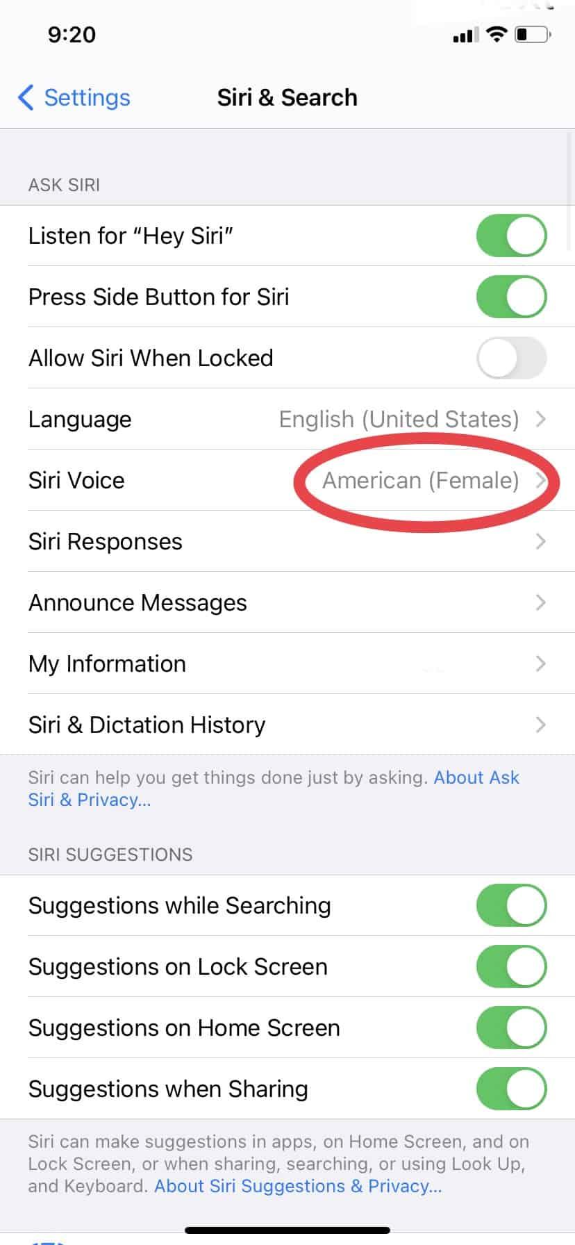 Changing Siri's voice