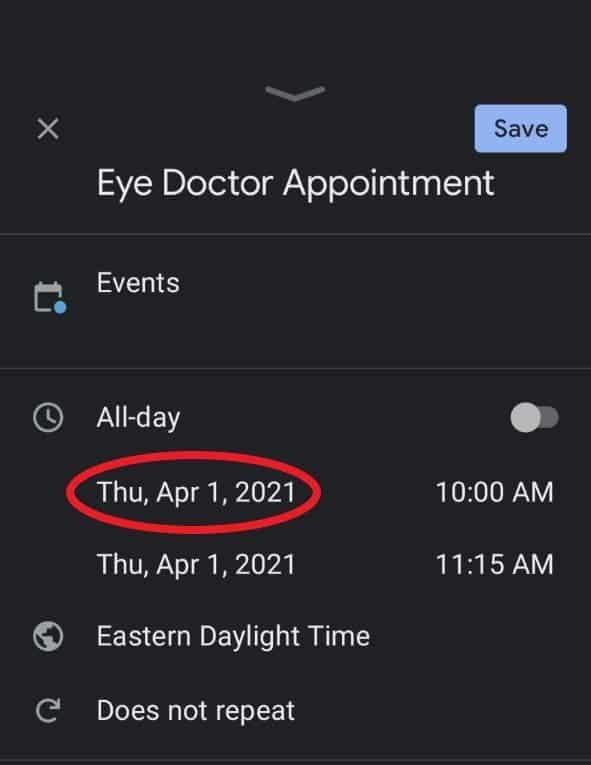 Changing the date on a Google Calendar event