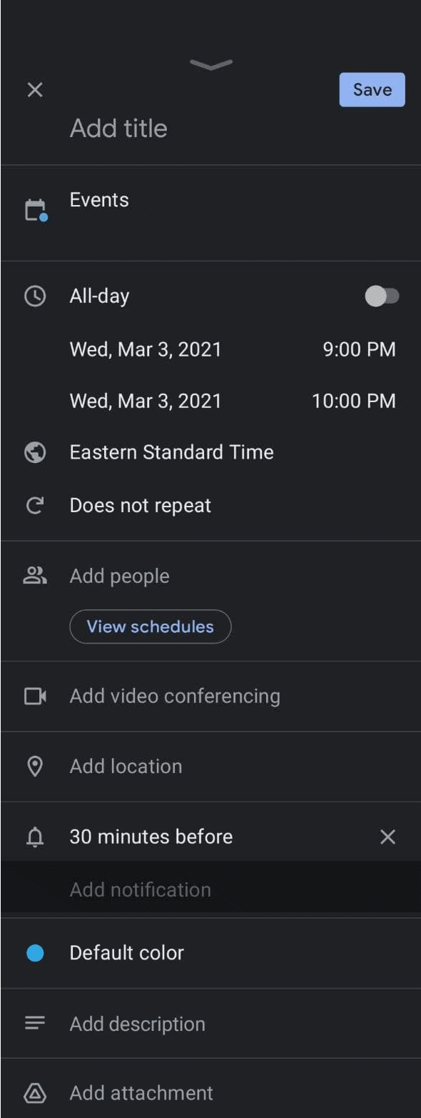 Editing your event details in Google Calendar
