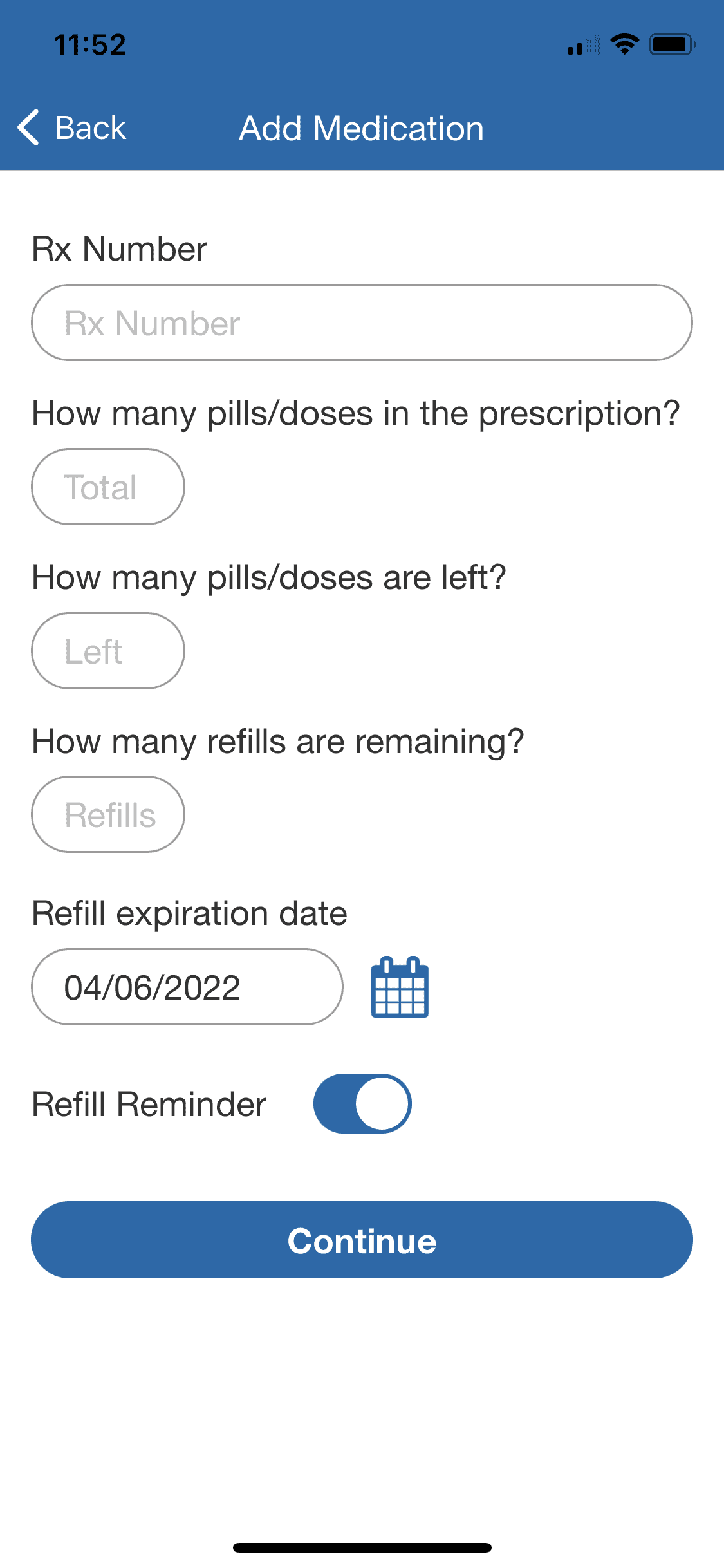 Inputting my medication information in the WellBe app