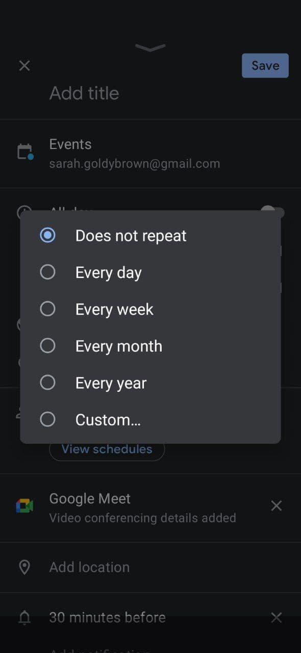 Make a repeating Google Calendar event
