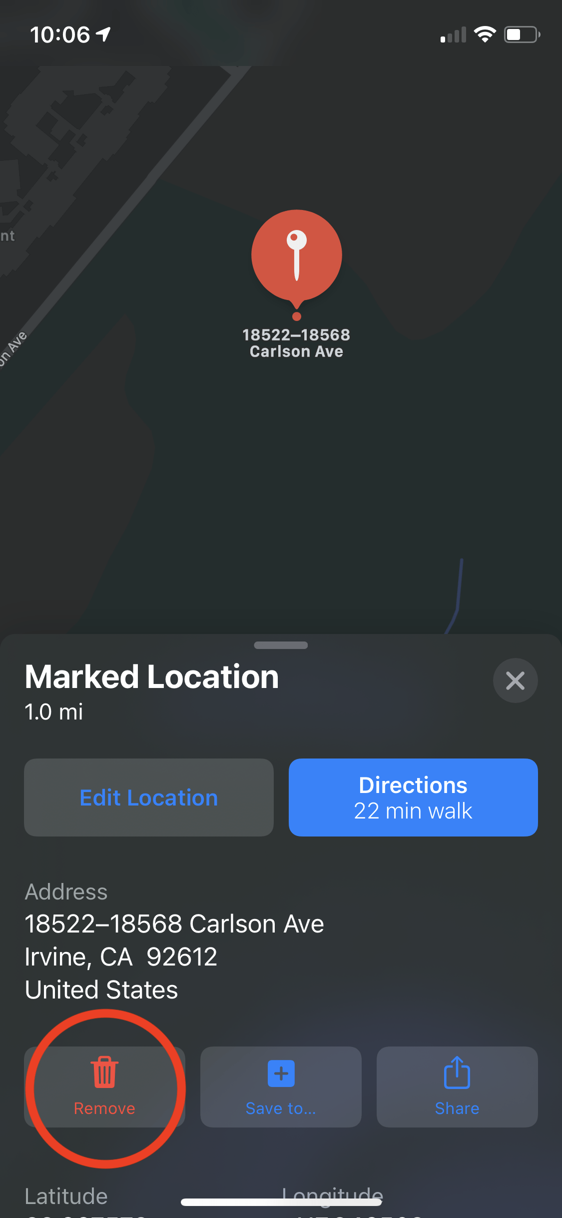 Removing a pin - Apple Maps