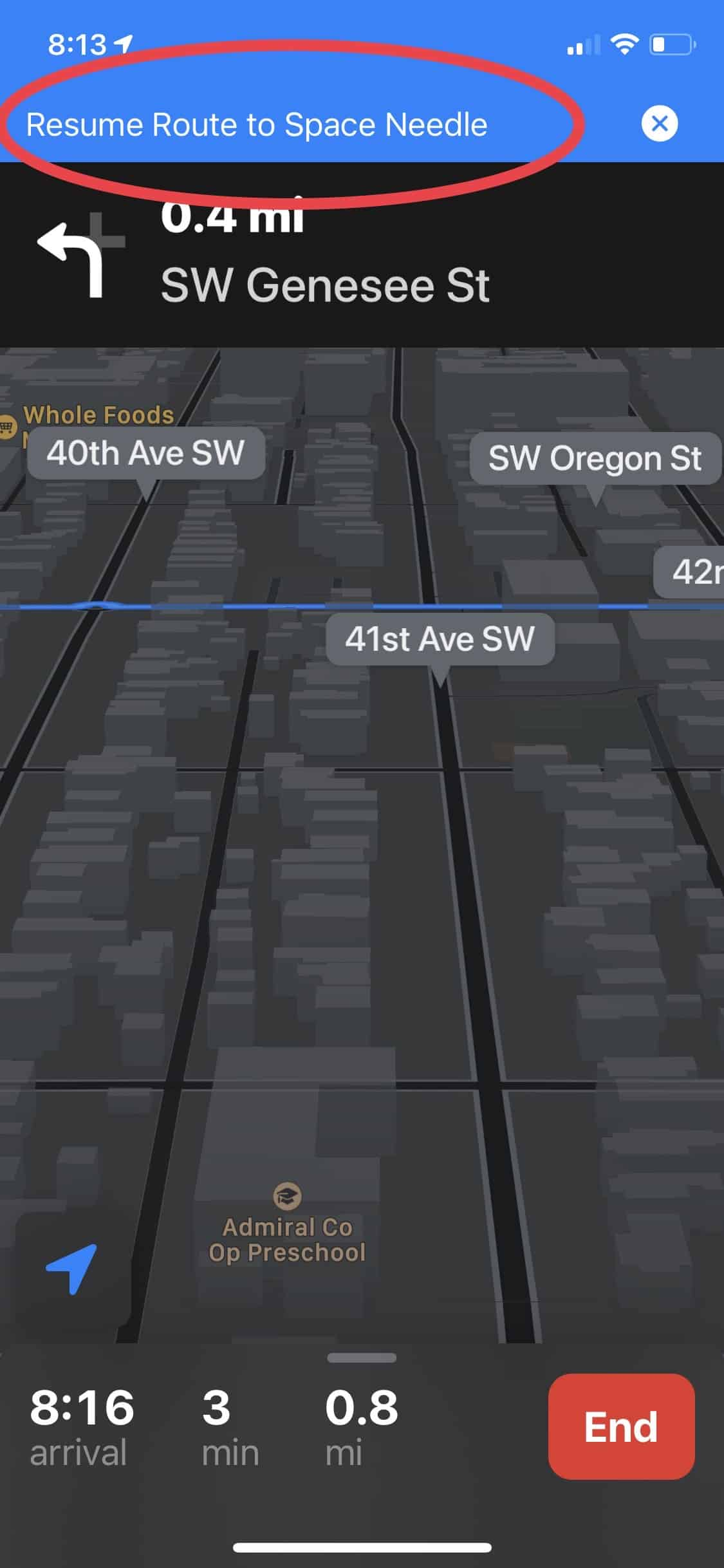 Resume your route - Apple Maps