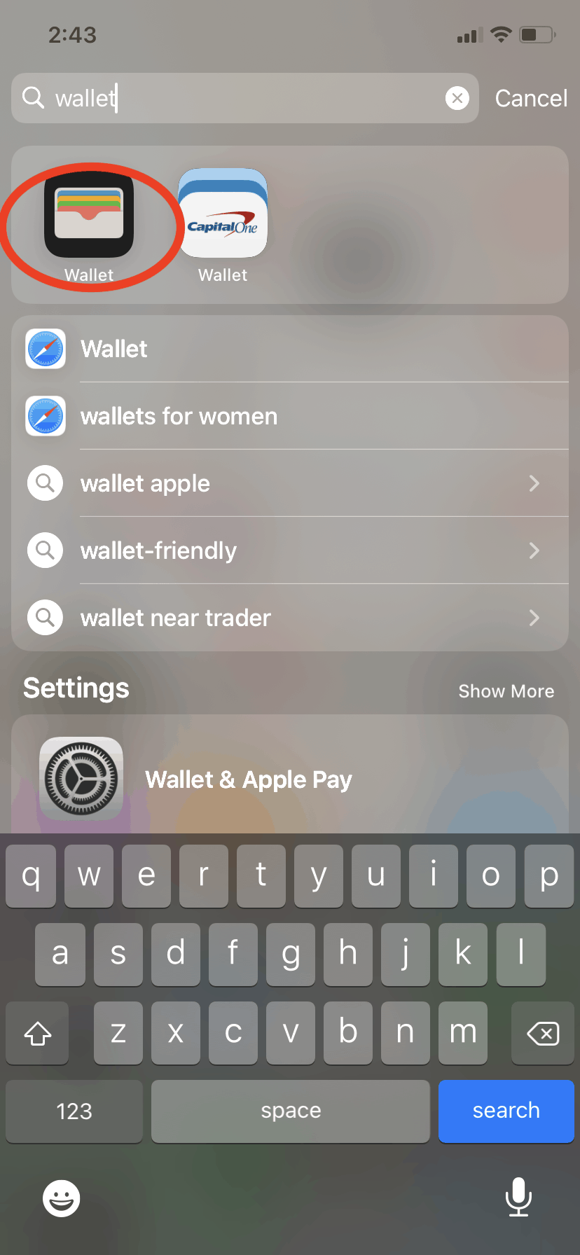 Search for the wallet app