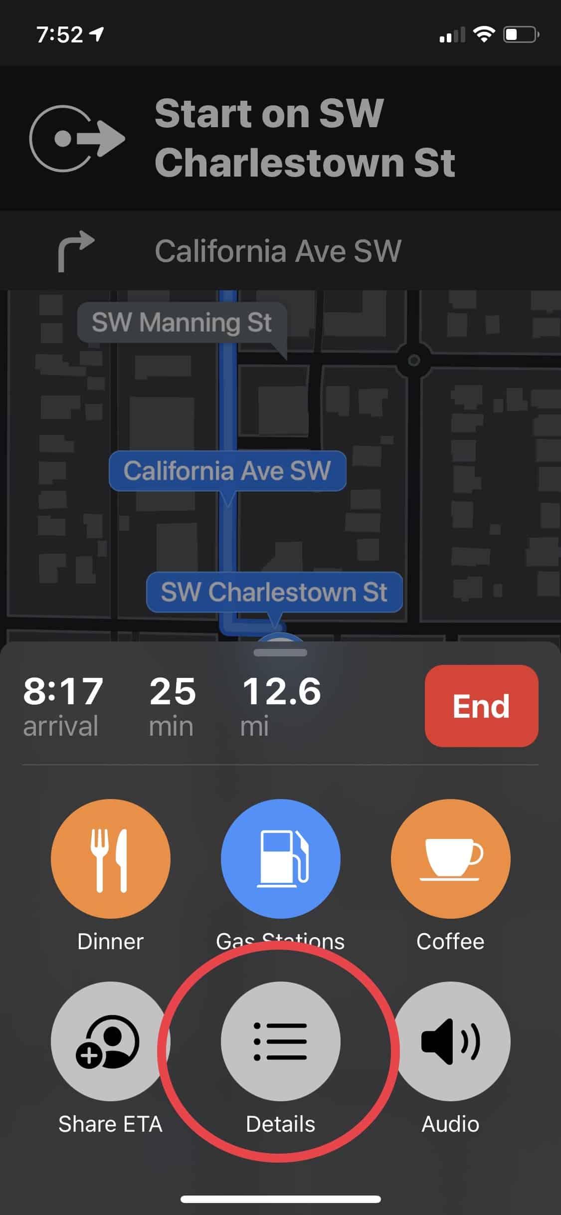 "Select ""Details"" - Apple Maps"