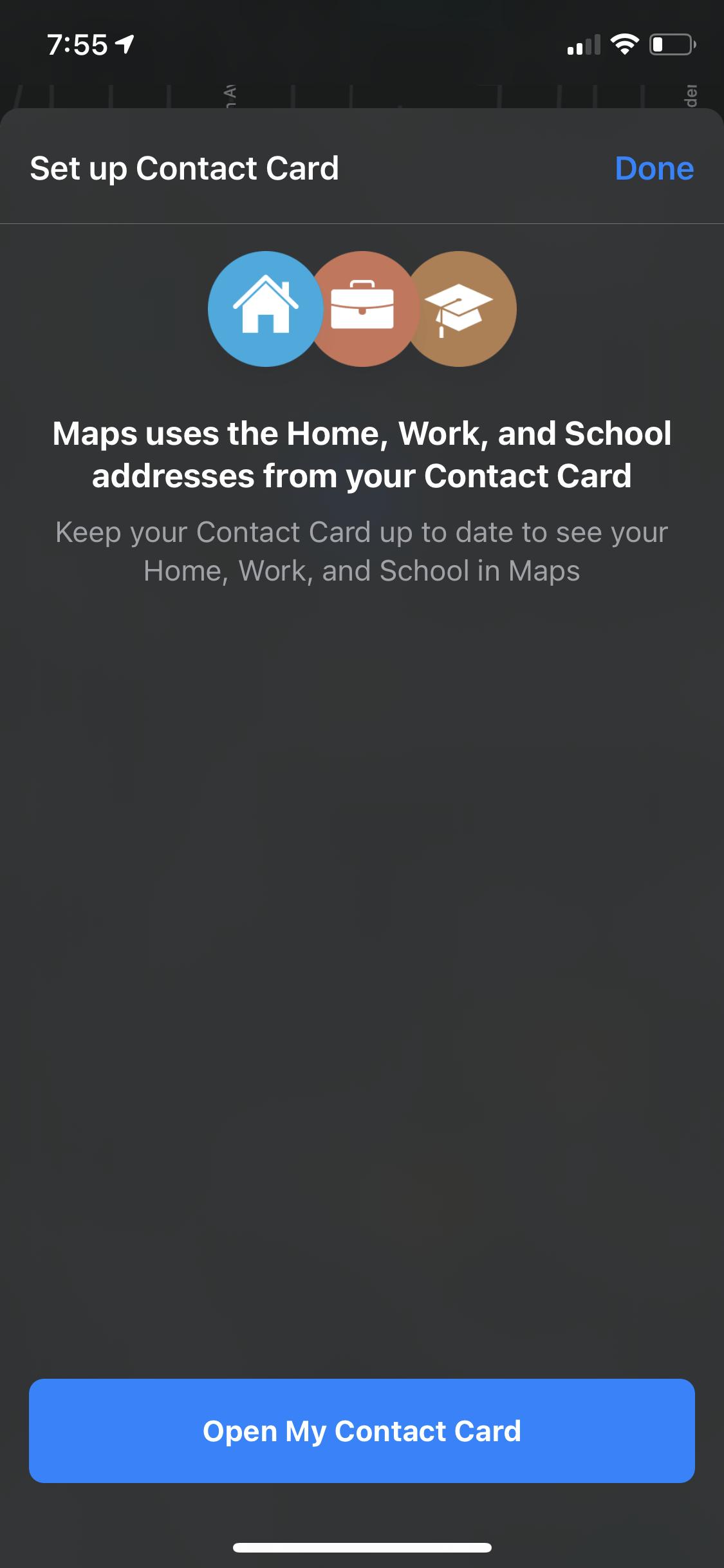 Set up your contact card