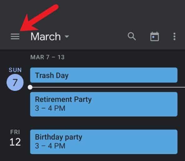 Switching between Google Calendar views