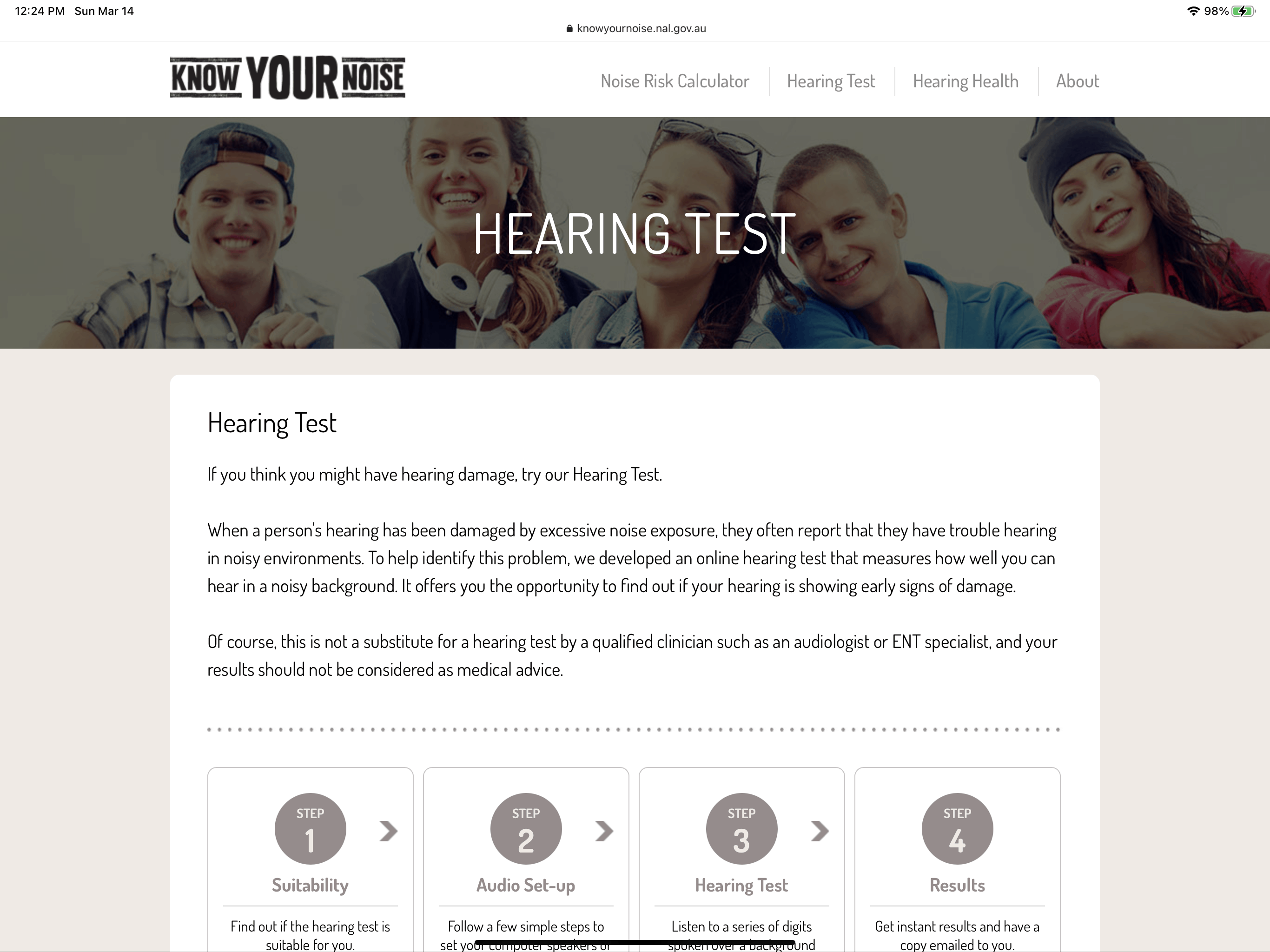 The Know Your Noise hearing test