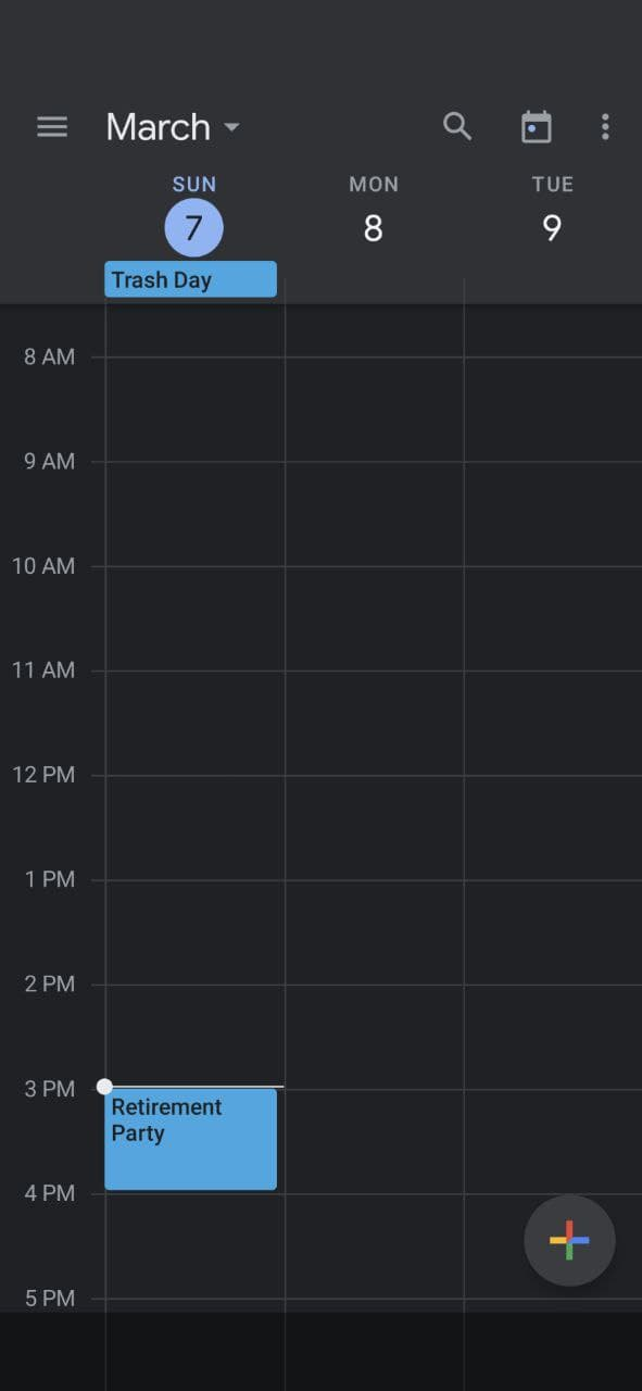Using Google Calendar - Three Days' View