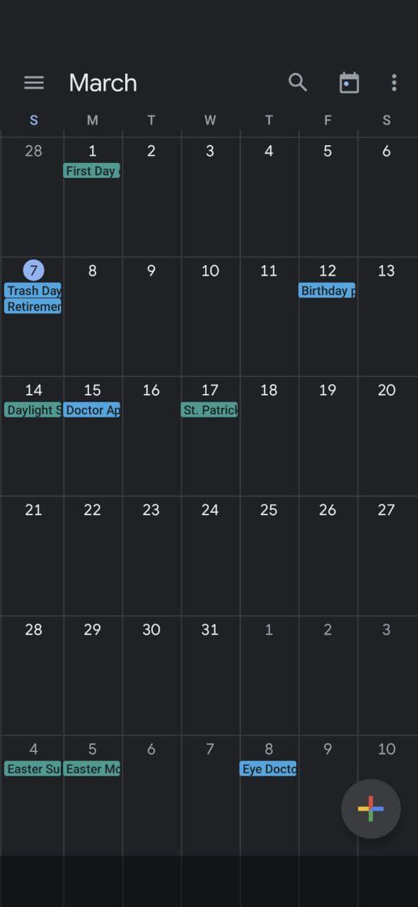 Using Google Calendar Month view