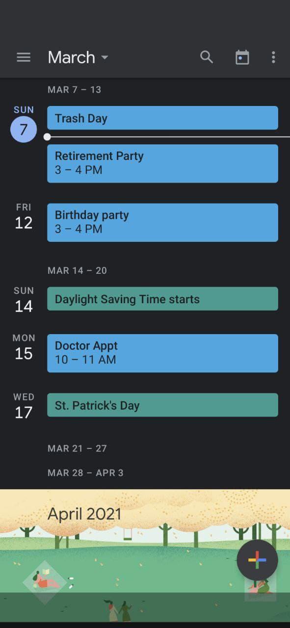 Using Google Calendar Schedule view