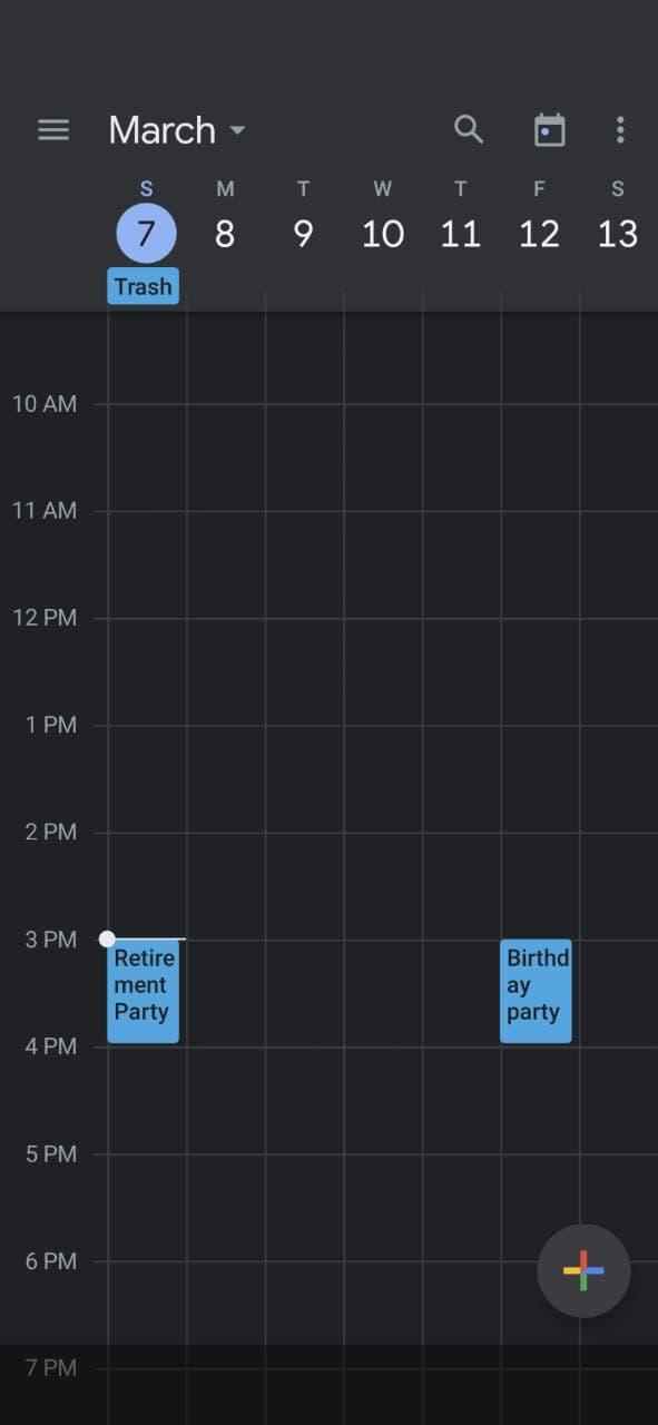 Using Google Calendar Week view