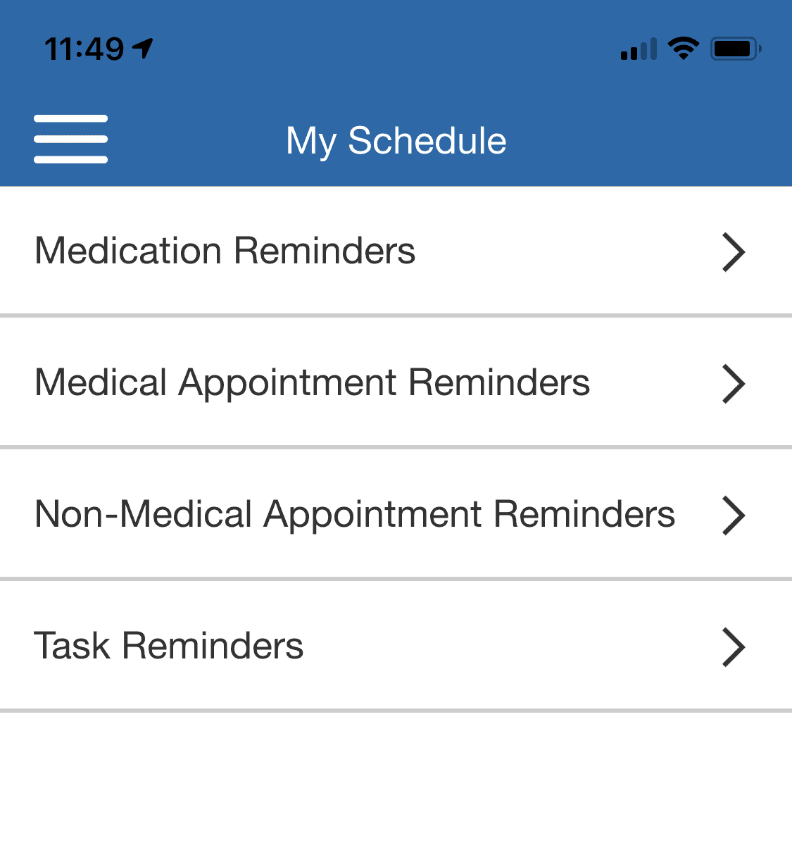 View your schedule in the WellBe app