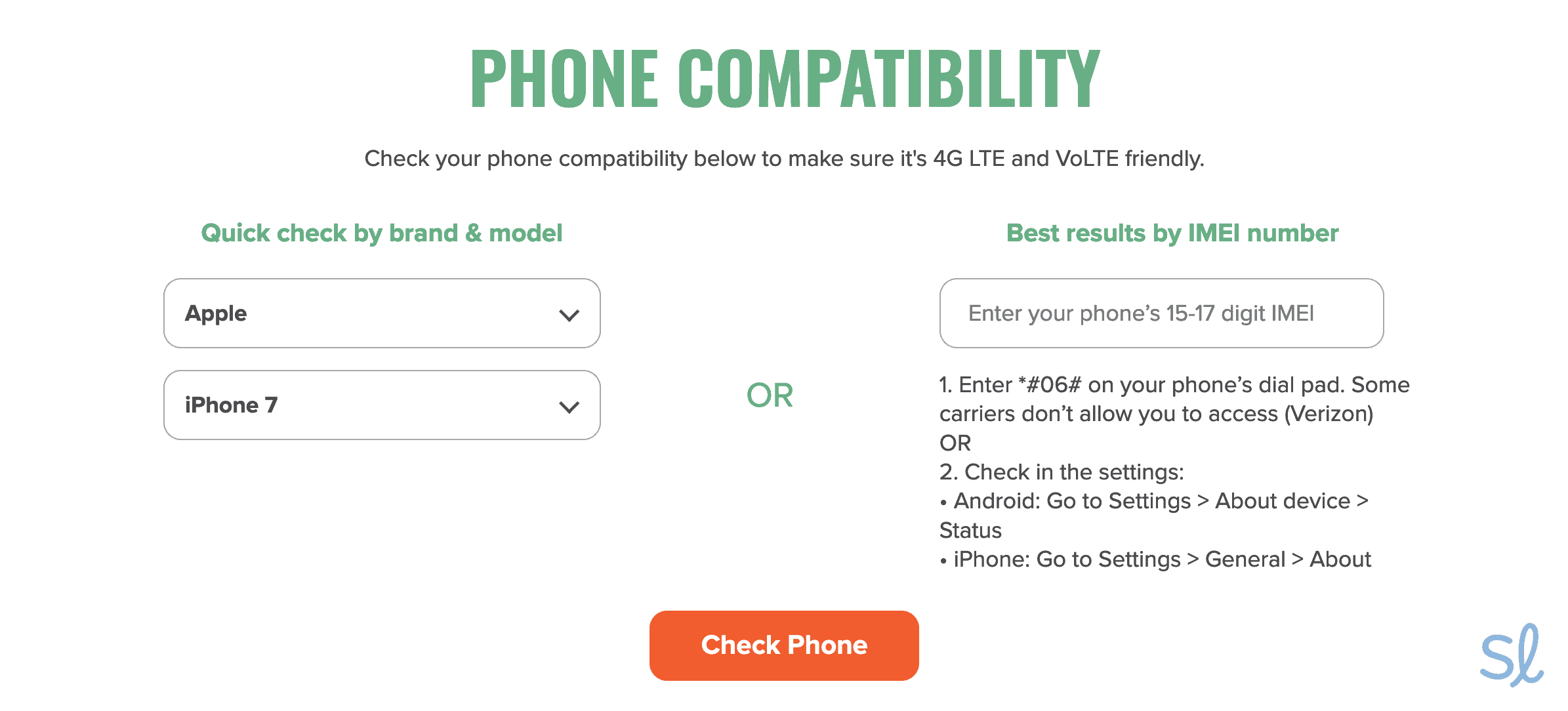 """Mint's phone compatibility checker came in handy when I wanted to see if I could """"bring"""" my phone with me if I signed up with Mint."""